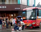 要紧!融水一辆公交车与电动车相撞,一男子倒地不起!
